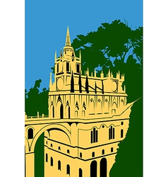 golden castle in the woods vector image vector image
