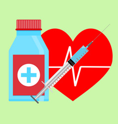 injection of adrenaline to heart vector image