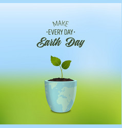 make every day earth day - background with quote vector image vector image