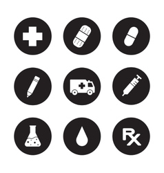 Medical center black icons set vector image vector image
