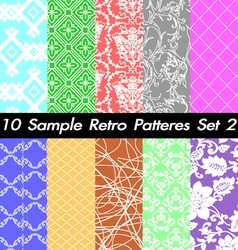 10 Retro Patterns Textures Set 2 vector