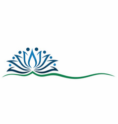 A blue lotus symbol vector
