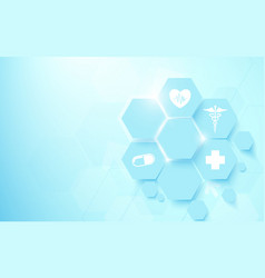 Abstract geometric hexagons shape medicine vector