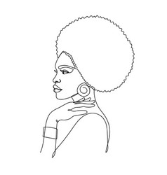 Afro american woman in a modern one line style vector