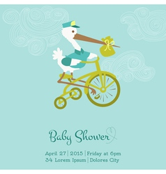 Baby Shower or Arrival Card with Stork vector