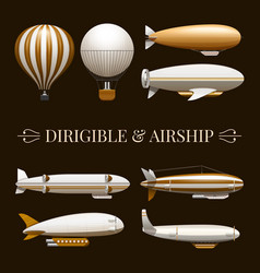 Balloon And Airship Icons Set vector image