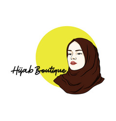 beautiful moslem girl hijab line art design vector image