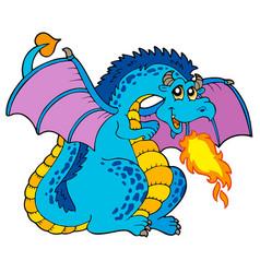 Big blue fire dragon vector