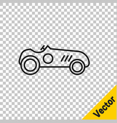 black line vintage sport racing car icon isolated vector image