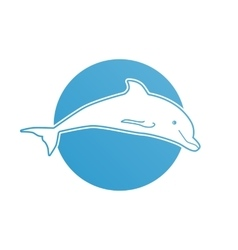 Blue flat logo dolphin for company and business vector image