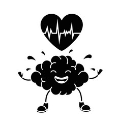 brain with heart kawaii character icon vector image