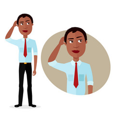 Business man is pensive thinking get an idea vector