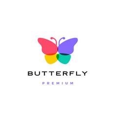 Butterfly logo icon overlap overlapping color vector