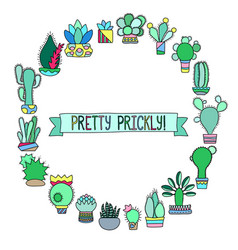 Cactus doodle round frame with place for text vector
