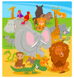 cartoon cute animal characters group vector image