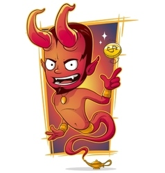 Cartoon evil red jinn with gold coin vector image