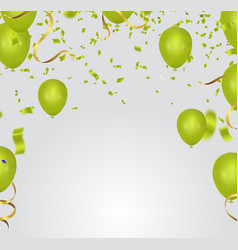 celebration party banner with green balloons vector image