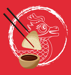 Chinese dragon rice dumpling chopstick and sauce vector