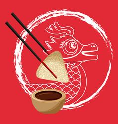 chinese dragon rice dumpling chopstick and sauce vector image