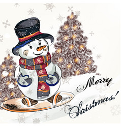 christmas greeting card with little pretty snowmen vector image