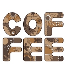 Coffee word brown vector