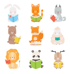 cute animals characters reading books set vector image