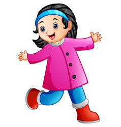 cute cartoon girl in winter clothes waving vector image