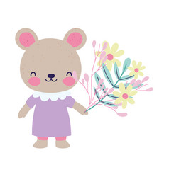 cute female bear with dress and flowers decoration vector image