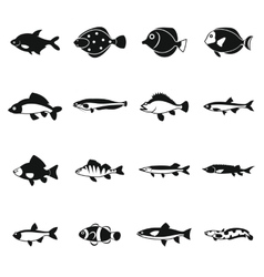 Cute fish icons set simple style vector image