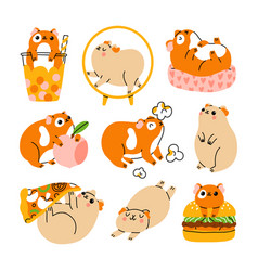 cute guinea pigs characters set vector image