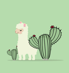 cute lama alpaca with cactus vector image