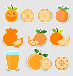 cute orange sticker set vector image