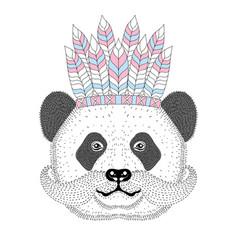 Cute panda with mustache war bonnetdesign vector