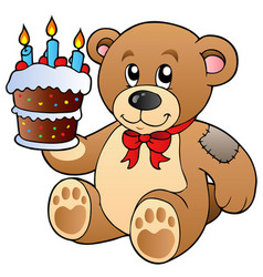 cute teddy bear with cake vector image