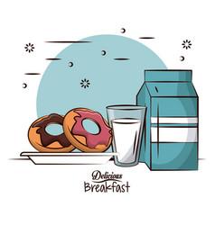 Delicious breakfast food vector