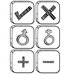 Doodle design of different buttons vector image