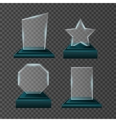 Empty glass trophy awards set design vector image