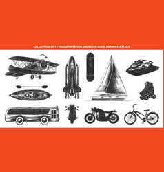 engraved style transportation collection vector image