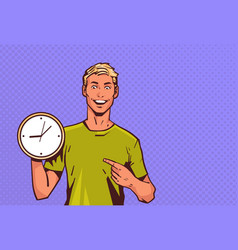 excited man hold clock point finger pop art retro vector image