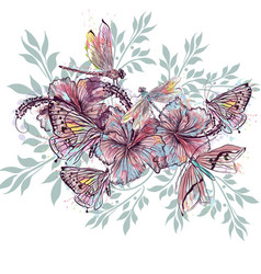 Fashion floral design from hibiscus flowers vector