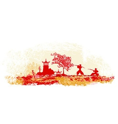 Fighting Samurai silhouette on abstract Asian vector