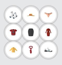 Flat icon garment set banyan foot textile t vector