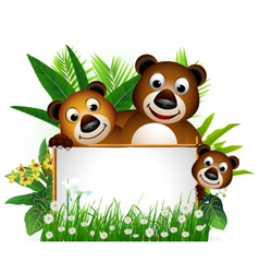 Funny brown bear family vector