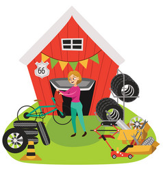 Garage sale woman sell used car parts tires vector