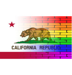 Gay rainbow wall california flag vector