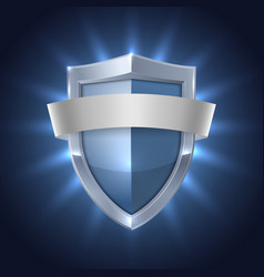 glowing shield with blank ribbon safety badge vector image