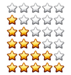 golden shiny rating stars vector image