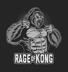 gorilla kong gets angry and screams vector image