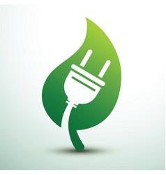 Green eco power plug design vector