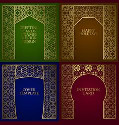 Greeting cards golden frames set vintage design vector